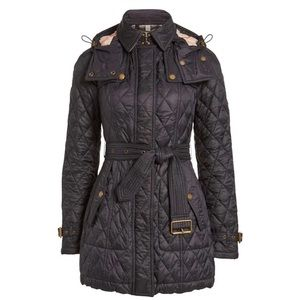 BURBERRY FINSBRIDGE BELTED QUILTED CHECK JACKET